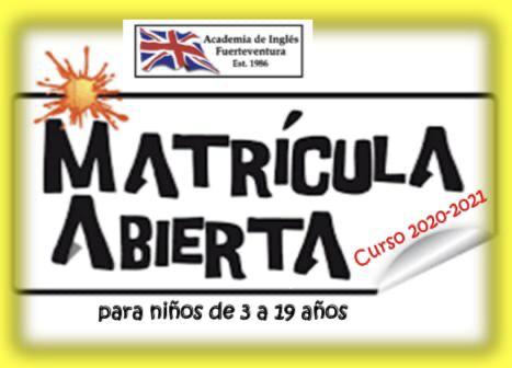 Academia de Inglés Fuerteventura, Matriculas Abiertas
